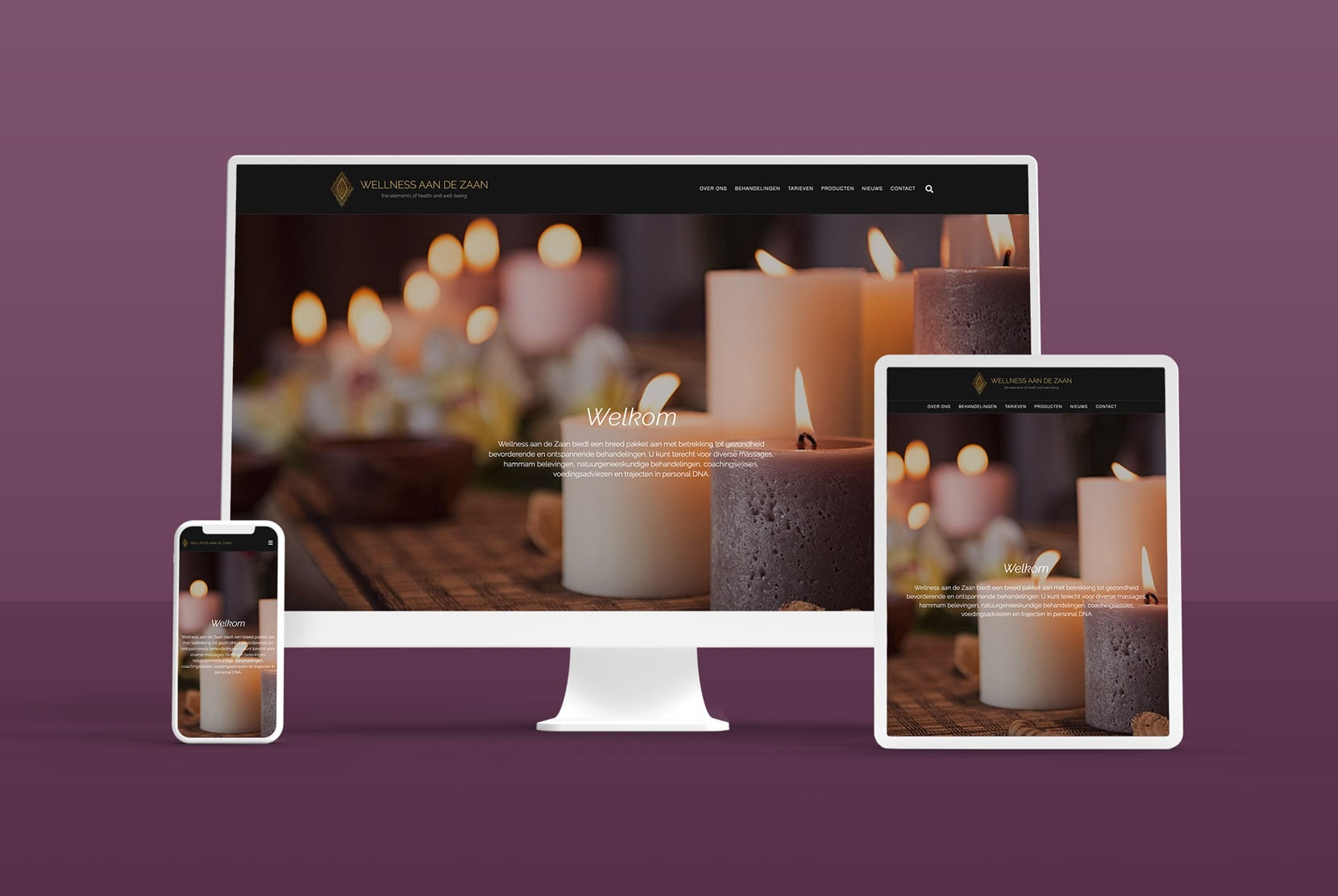 Multidevices with design of wellness website