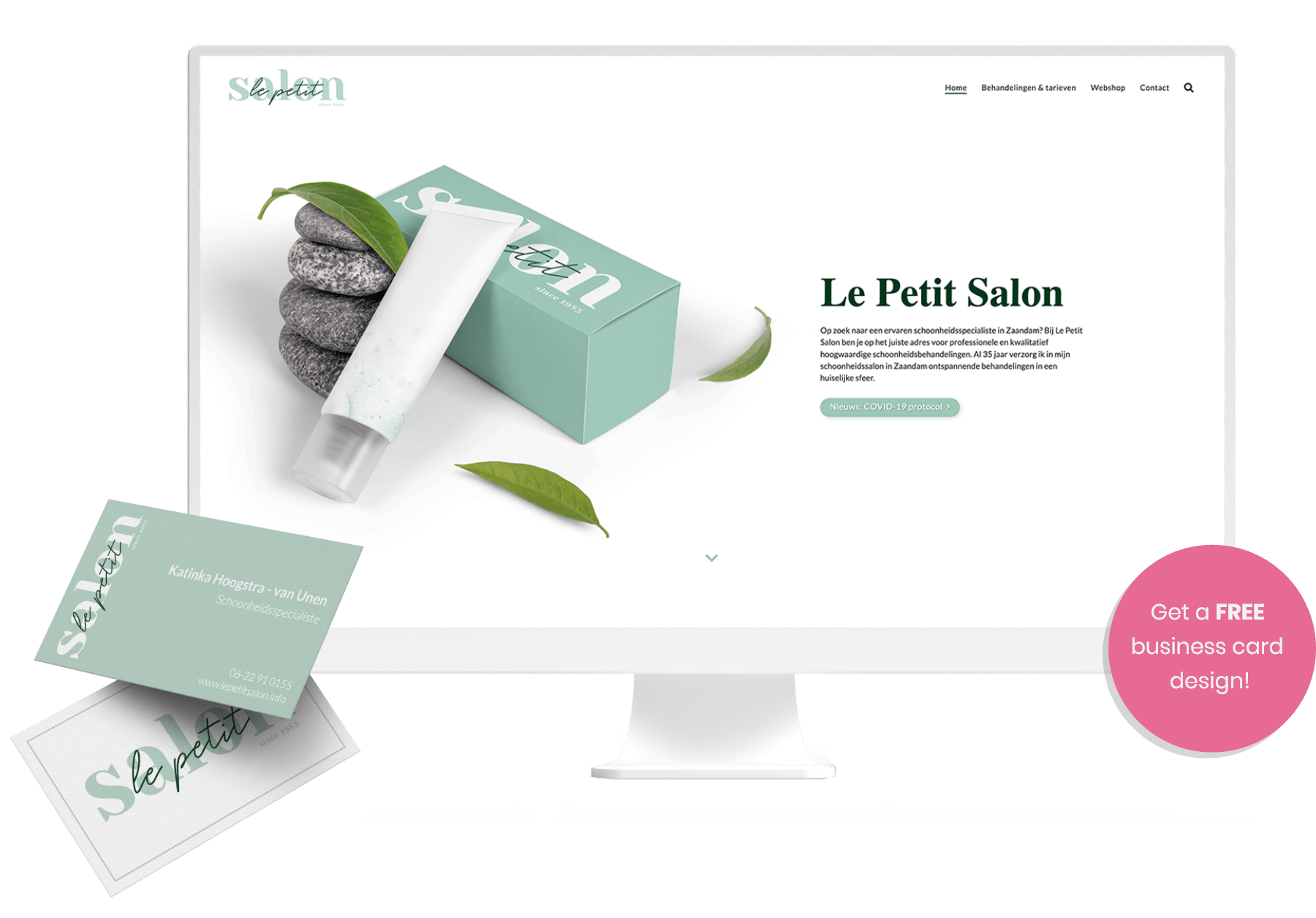Get a free business card design when you get a website from Pura-web